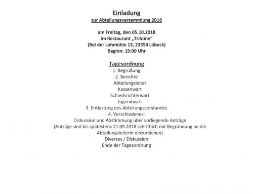 Einladung Abteilungsversammlung 2018